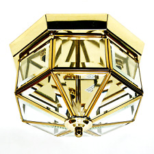 3 Light Octagonal Close To Ceiling Mount Br Fixture Clear Beveled Gl