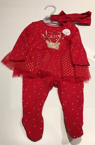 Cute Baby Girl Kids Xmas Christmas All In One Glitter Tutu Headband Set New