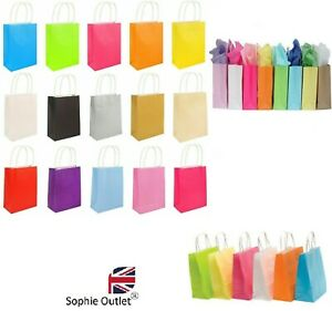 Bright PAPER PARTY BAGS With Handles Birthday Christmas Wedding Halloween Lot