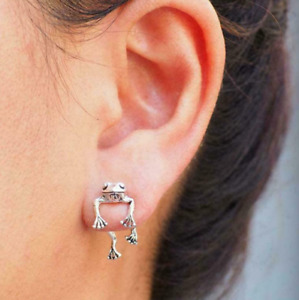 Two-way Frog Earrings Vintage Silver Frog Earrings Lover Jewelry Holiday Gifts