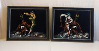 2 Framed Vintage Matador & Bull Black Velvet Painting Bullfighter Spanish Mexico