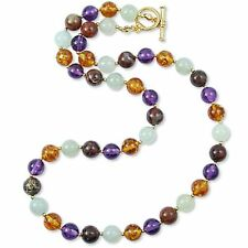 """Multi-Color Jade Gemstone Necklace 18"""" with Toggle Closure ~ Museum  Collection"""