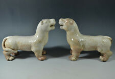 Wonderful China Ancient White Glazed Porcelain Pair Of Tiger Statues 9.84""