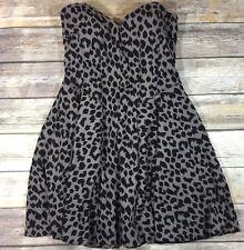 Victorias Secret Mini A Line Dress Built in Underwire Bra Gray Cheetah Print 36D