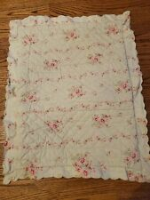 Simply Shabby Chic Green Pink Rose Floral Scalloped Quilted Standard Pillow Sham