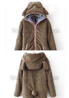 Womens Teddy Bear Ear Coat Hoodie Hooded Jacket Fleece Warm Baggy Outerwear