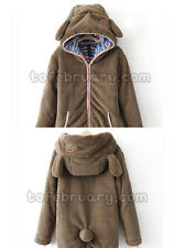 Lady Girl Warm Cute Teddy Bear Ear Coat Plush Hoodie Jacket Outerwear One Size
