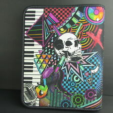 "Mead Skull Music Doodle Zipper Binder 1.5"" Ring OOAK Drum Guitar Keyboard"