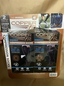 2 Pair COPPER FIT Energy Compression Socks in Black Mens size 9 10 11 12