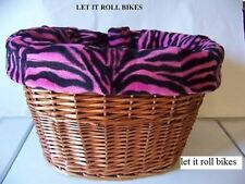 BICYCLE BASKET LINER PINK ZEBRA REVERSABLE DRAWSTRING NEW!