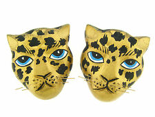 Vintage Large Hand Carved Wood Hand Painted Gold Leopard Face Focal Bead Set