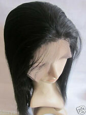 100% remy indian human hair full wig lace front wig 14 inch  black yaki straight