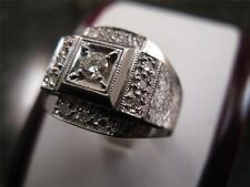 Vintage 14k Solid White Gold Diamond Ring 1970's Circa  Size 101/4  U  20.02mm
