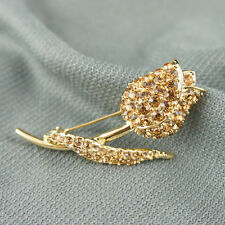 14k Gold plated brilliant rose with Swarovski crystals pin brooch