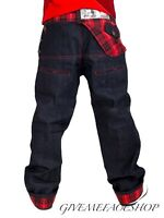 DIRTY MONEY JEANS, BAGGY RED CHECK URBAN DENIM BRANDED DESIGNER LOOSE PANTS