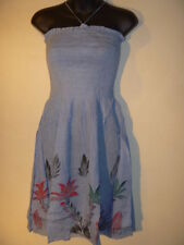 Mini Dress Fit S M L XL Blue Sundress Palm Trees Stretch Tube Beach Cover 30