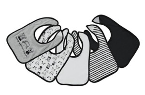 Baby Boy Bibs 5 Pack Animals Hanging with Friends Black Gray NWT 100% Cotton