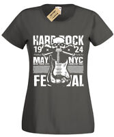 Hard Rock Festival T-Shirt Womens biker music guitar skull ladies retro