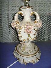 VINTAGE COPADIMONTE TABLE LAMP DOUBLE HANDLE,FLORAL GOLD TRIM #1803 ITALY CALDI