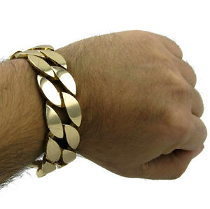 "Thick 25mm Wide Miami Cuban Big Gold Finish Men 9"" Curb Chain Fashion Bracelet"