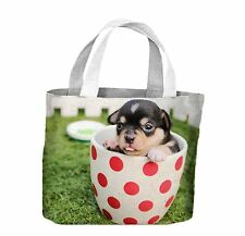 Chihuahua Puppy in a Tea Cup Tote Shopping Bag For Life - Cute Puppies Dog