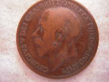 1921 KING GEORGE BRONZE PENNY COIN, VF, Nice Original Patina, Nice Coin