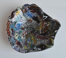Mid Century Black & Silver Murano Foil Glass Bowl or Ashtray Millefiori Layer