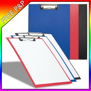 Paper Clip Boards Solid Holder with Meta Clasp - Red Blue Black