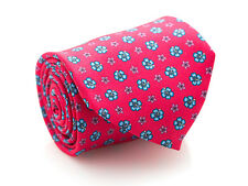 New Davidoff 100% Silk Neck Tie in Mini Flowers Printed Pattern on Azalea Pink