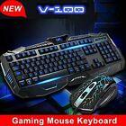 NEW USB Wired LED Illuminated Blue Backlit Pro Gaming Black Keyboard  Mouse Set