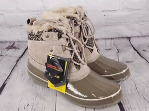 Khombu - Suede Lace-Up Winter Boots w/ Faux Fur Detail -Keri - Taupe 8 M