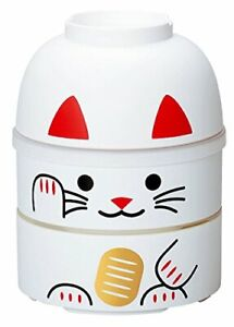 HAKOYA Big Lunch Bento Box 52679 Maneki Neko Cat ManekiNeko WHITE Kokeshi JAPAN