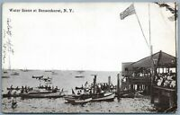 BROOKLYN NY BENSONHURST WATER SCENE ANTIQUE POSTCARD