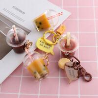 Resin Car Key Chain Keyring Bag Pendant Drink Bottle Pearl Milk Tea Keychain