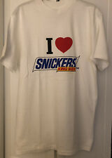 "Vtg 1985 Single Stitch Hanes Beefy-T ""I LOVE SNICKERS"" Candy Promo Shirt -  Med"