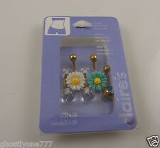sunflower daisy crystal belly button ring, piercing, body jewelry 5 piece set