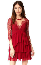 NEW NWT $400 ANTHROPOLOGIE RED ILLUSION LACE TULLE RUFFLE TIERS STUNNING DRESS M