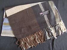 100% Cashmere Winter Scarf Scarve Scotland Warm Plaid Gray Brown Wrap Shawl NEW