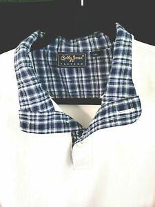 Bobby Jones Performance Golf Long Sleeve Sweat Shirt White/Blue Plaid XXL