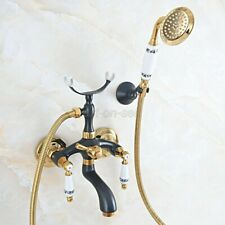 Black&Gold Brass Wall Mounted Clawfoot Bath Tub Faucet with Hand Shower Spray