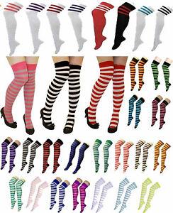Ladies Womens Referee OTK Stripe Stretchy Socks Over The Knee Fancy Casual Socks