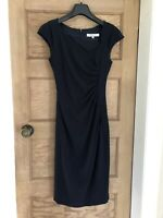 L K BENNETT Pencil Dress Size 6 Navy Pleated Lined Wedding Formal