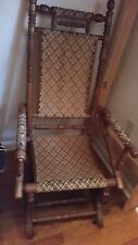 Antique Platform Spring Rocking Chair Wood Tapestry Upholstered 1880's