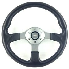 Genuine Momo Fighter 350mm black leather steering wheel. Excellent Condition. 7B