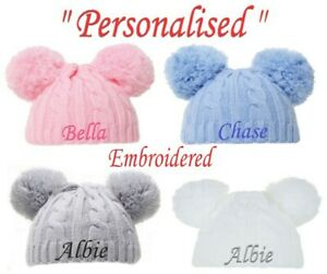 PERSONALISED BABY POM POM HAT KNITTED WINTER WHITE PINK BLUE GREY GIFT NEWBORN-6