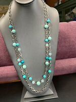 Vintage Long Sweater Necklace Turquoise Stone & Lucite Beaded Silver Tone 32""