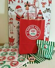 Personalizado Calendario de Adviento Bolsa 24 Bolsas De Papel Navidad Elfo Pegatinas Polo Norte