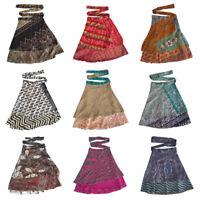 Indian Silk Sari Magic Wrap Around Skirts Beach Party Wear Reversible Warp Skirt