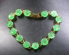 Gold Plate CHINESE Icy Green JADE Circle Bead Beads Bangle Bracelet 251142 US