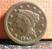 Very Nice 1845 Braided Hair Large Cent